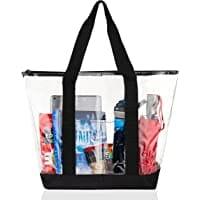 Bags for Less Large Clear Vinyl Tote Bags Shoulder Handbag Image
